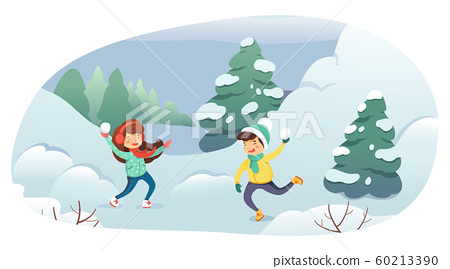 Children playing snowballs cartoon illustration. Kids having fun. Boy and girl throwing snowballs vector characters. Winter entertainment, outdoor activity, leisure, active rest concept. 60213390