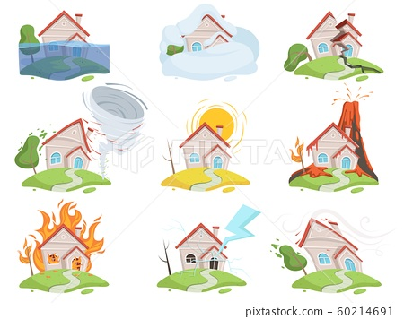 Nature disaster damage. Fire volcano water wind tree destruction tsunami vector cartoon pictures 60214691