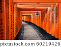Torii path at Fushimi Inari Taisha Shrine in Kyoto, Japan 60219426