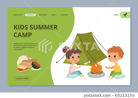 Kids summer camping vector web landing page 60223250