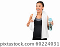 Fit Girl Holding Bottle Of Water Standing On White Background 60224031