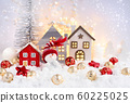Christmas composition with the snowman, huts 60225025