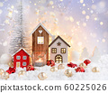 Christmas composition with decorative huts 60225026