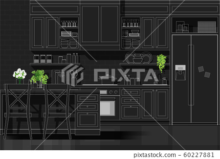 Interior design with modern kitchen in white line sketch on black background 60227881