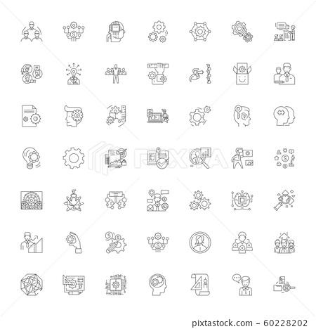 Engineering linear icons, signs, symbols vector line illustration set 60228202