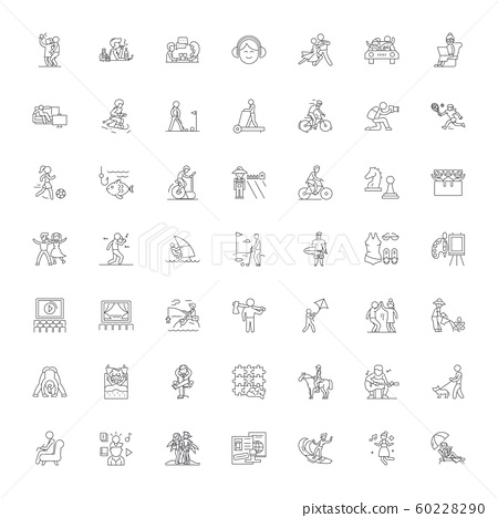 Leisure activities linear icons, signs, symbols vector line illustration set 60228290