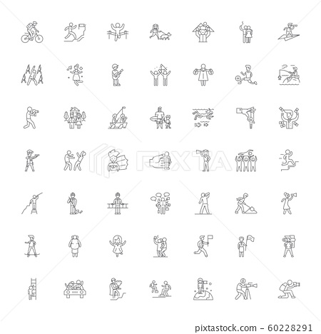 Active family linear icons, signs, symbols vector line illustration set 60228291