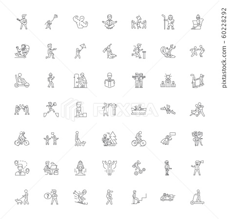 Active lifestyle linear icons, signs, symbols vector line illustration set 60228292