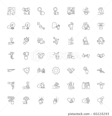 Business solutions linear icons, signs, symbols vector line illustration set 60228293
