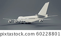 Large passenger aircraft of large capacity for long transatlantic flights. White airplane on gray isolated background. 3d illustration. 60228801