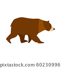 Bear brown character symbol vector icon side view. 60230996
