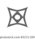 Throwing star ninja shuriken vector flat icon. 60231189