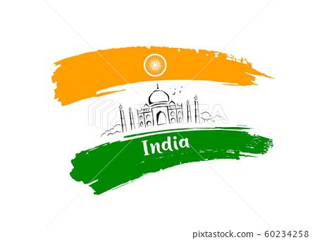 Taj Mahal sketching drawing flag of india brush 60234258