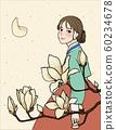 Illustration, calligraphy, woman, hanbok 60234678