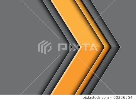Abstract yellow arrow 3D direction on grey bank space design modern futuristic background vector illustration. 60236354