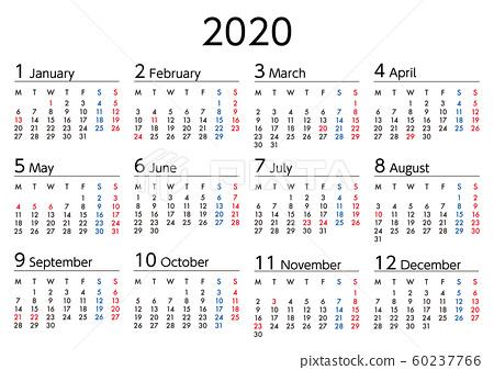 2020年日曆從星期一開始 60237766