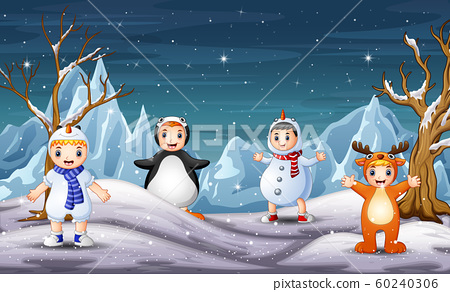 Cute children in different costume on winter  60240306