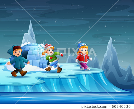 Children playing around igloo illustration 60240336