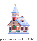 Holiday Christmas Decorated Church Icon in Flat 60240618