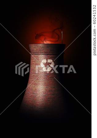 3d rendering of smokestack of processing plant, 60241532