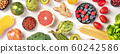 Vegan food panoramic flatlay shot. Healthy diet concept. Fruits, vegetables, pasta, nuts, legumes on a white background 60242586