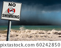 No Swimming - Sign with a rough sea on background 60242850