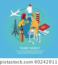 Tourist Agency Isometric Background 60242911