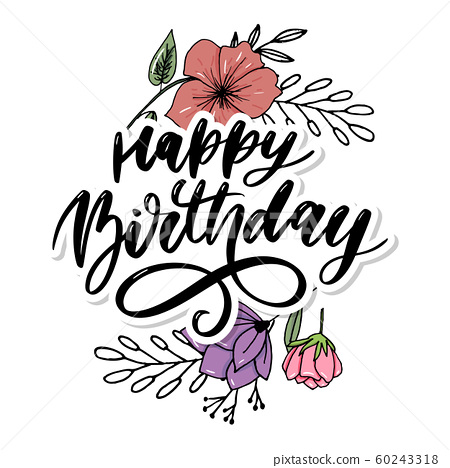 Happy Birthday lettering calligraphy brush 60243318