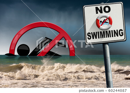 No Swimming - Sign with a rough sea on background 60244087