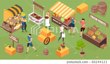 Isometric Farm Market Composition 60244121