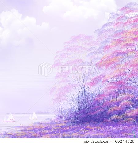 數字手繪美麗的紫色湖。 60244929
