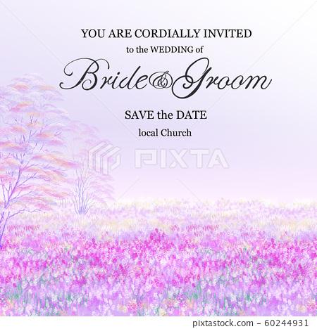 電子婚禮唯唯唯美的紫色長袍和花田婚禮鮮花。 60244931