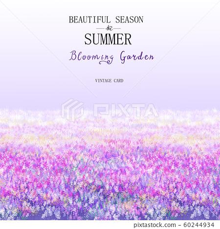 電工Yui美麗的紫色長袍和草地夏季。 60244934