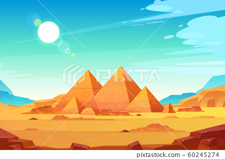 Egyptian pyramids landscape cartoon 60245274