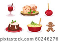 Christmas Festive Dishes and Desserts Set, Traditional Delicious Holiday Meal, Glass of Mulled Wine, Caramel Apple, Mashed Potatoes, Gingerbread, Pudding Vector Illustration 60246276
