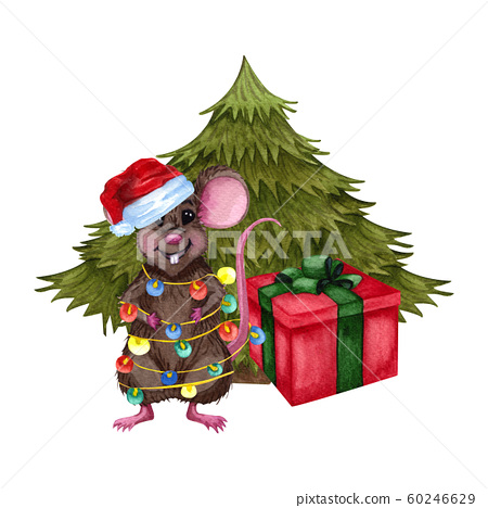 Little Mouse In A Green Scarf And Red Stock Illustration 60246629 Pixta Christmas tree poster cartoon christmas tree christmas tree decorations christmas is coming christmas holidays christmas bulbs christmas crafts christmas clipart free green wrapping paper. pixta