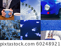 Collage of photos in blue modern color. 60248921