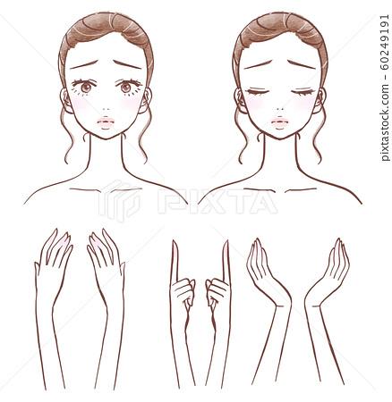 陷入困境的表情年輕女子的臉和手 60249191
