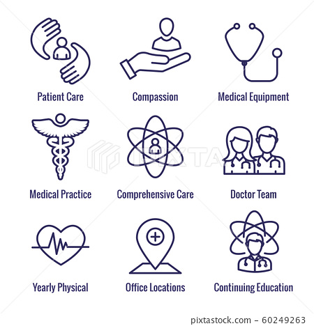 Physician Care Icon Set w medical, patient, and 60249263