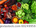 Mixed vegetables and fruits background healthy 60249956
