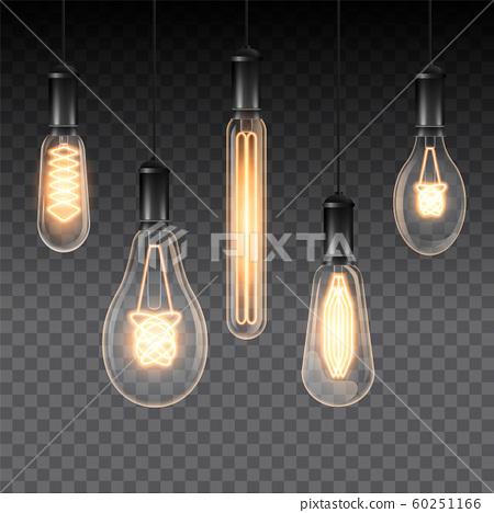 Set of realistic luminous lamps 60251166