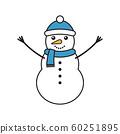 Vector flat cartoon snowman 60251895