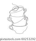 Cups stand on top of each other. A few cups. Minimalist style graphics. 60253292