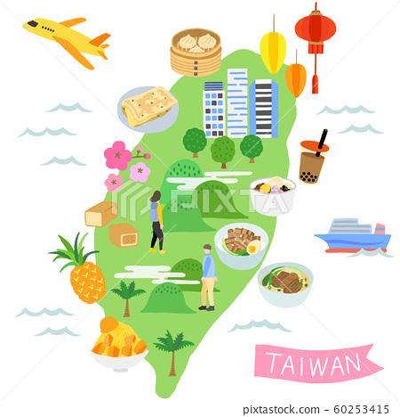 台灣地圖觀光插畫地圖 60253415