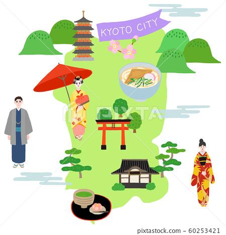 京都城市地圖觀光插圖地圖 60253421