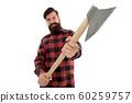 Chop it. Axe selective focus. Bearded man hold 60259757