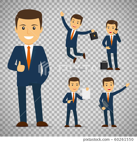 Businessman cartoon character in different poses 60261550