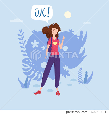 Happy teenage girl with thumb up. Student with backpack bubble OK. Vector trendy flat cartoon style, illustration. Floral background 60262591