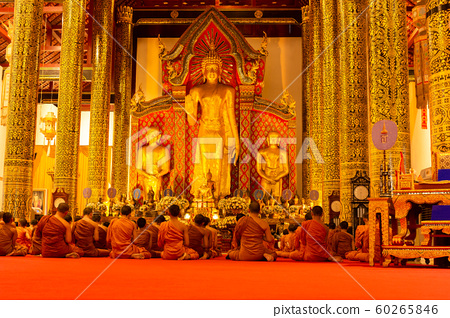 Monk prayer in Buddha days in Wat Chedi Luang Temple. 60265846