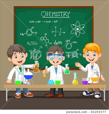 Group of scientist boy doing chemical experiment 60269377